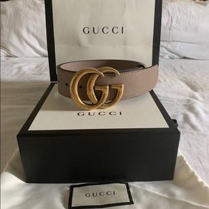 Gucci belt dusty rose pink leather gg